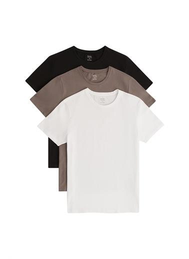 Avva E001010 Beyaz-3'Lü Bisiklet Yaka Düz T-Shirt E001010 Siyah